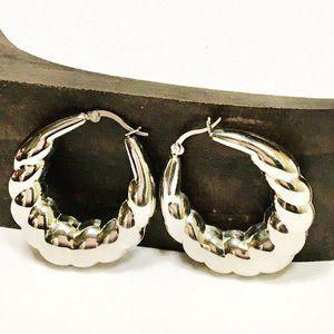 Scalloped Hoop Earrings Stainless Steel